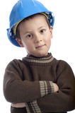 Little boy with protection helmet, arms crossed, Stock Images