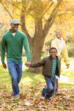 A little boy pulling his parents to walk more quickly Stock Images