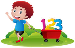 Little boy pulling wagon with numbers. Illustration Stock Photography