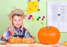 Little boy with pumpkin Stock Photography