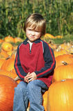 Little Boy at Pumpkin Patch. Cute young boy sitting on a pumpkin at the pumpkin patch Royalty Free Stock Photography