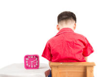 Little boy is punishing on time out at home Royalty Free Stock Image