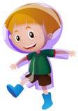 Little boy in purple raincoat Stock Image