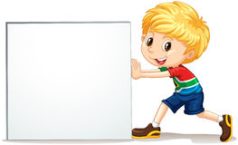 Little boy pushing blank sign Stock Image