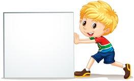 Little boy pushing blank sign Stock Image