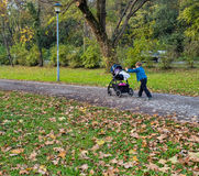 Little boy pushing strollers Royalty Free Stock Photos