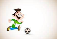 Little Boy que joga o futebol Fotografia de Stock Royalty Free