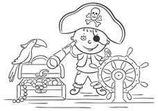 Little Boy que joga o pirata Imagens de Stock Royalty Free