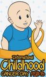 Little Boy que sauda na comemoração do dia do câncer da infância, ilustração do vetor ilustração stock
