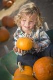 Little Boy que senta e que guardara sua abóbora no remendo da abóbora Fotos de Stock