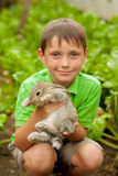 The little boy with a rabbit in the hands Royalty Free Stock Photography
