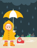 Little boy in raincoat. Illustration of a little boy and a puppy in the yellow raincoat with a umbrella Royalty Free Stock Images