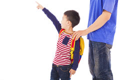 Little boy raise hand to point  with father Royalty Free Stock Photo