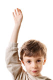 Little boy raising hand Royalty Free Stock Photography