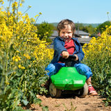 Little boy on rapeseed field Royalty Free Stock Image