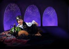 Little boy in reach arabian farytale dress Stock Photography