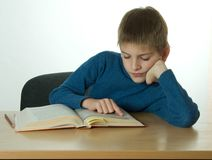 Little boy read book royalty free stock photo