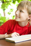 Little boy reading Stock Photo