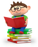 Little boy reading. Cute little cartoon boy sitting on books reading - high quality 3d illustration Royalty Free Stock Photography