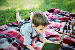 Little boy reading a book while lying on a mat in the park Royalty Free Stock Photography