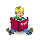 Little boy reading a book primer. Cartoon little boy reading a book primer, vector illustration Royalty Free Stock Photo