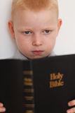 Little boy reading Holy Bible Royalty Free Stock Images