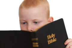 Little boy reading Holy Bible Stock Photo