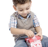 Little boy receives a beautiful gift Royalty Free Stock Images