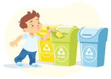 Little boy recycling garbage Stock Images