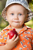 Little boy with a red apple Royalty Free Stock Image