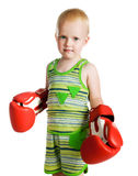 Little boy in red boxing gloves Stock Images