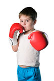 Little boy with red boxing gloves on white background isolated Stock Photography