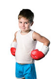 Little boy with red boxing gloves on white background isolated Royalty Free Stock Photos