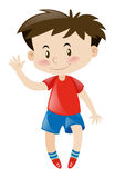 Little boy in red greeting hello. Illustration Royalty Free Stock Image