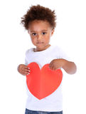 Little boy with red heart Royalty Free Stock Photos