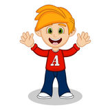 Little boy with red long sleeved shirt and blue trousers waving his hand cartoon Stock Images