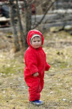 Little boy in red overalls. Stand Royalty Free Stock Image