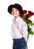 Little boy with red roses Stock Photo