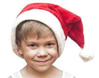 Little boy in red santa hat Royalty Free Stock Photography