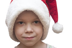 Little boy in red santa hat Royalty Free Stock Images