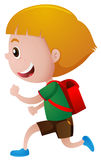 Little boy with red schoolbag running Stock Images