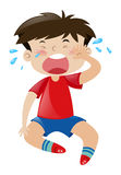 Little boy in red shirt crying.  illustration Royalty Free Stock Images