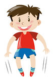 Little boy in red shirt jumping. Illustration Stock Photos