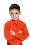 Little boy in a red shirt Royalty Free Stock Photos