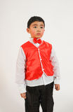 Little boy in red vest. Chinese boy wearing a vest so pretty and beautiful chic Stock Photo