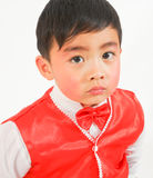 Little boy in red vest. Chinese boy wearing a vest so pretty and beautiful chic Stock Images