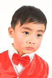 Little boy in red vest. Chinese boy wearing a vest so pretty and beautiful chic Royalty Free Stock Photos