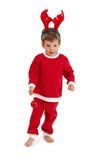 Little boy in reindeer hair band Royalty Free Stock Photo
