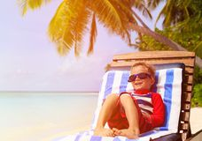 Little boy relaxed on summer beach Royalty Free Stock Images