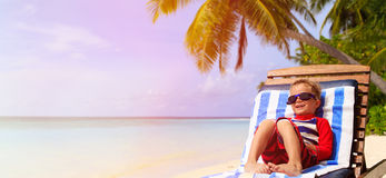 Little boy relaxed on summer tropical beach Royalty Free Stock Photos